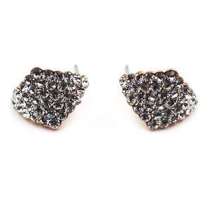 Silver rhombic crystal earrings